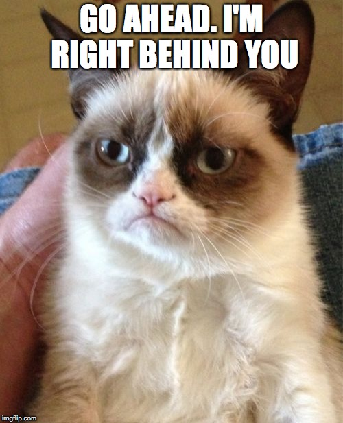 Grumpy Cat Meme | GO AHEAD. I'M RIGHT BEHIND YOU | image tagged in memes,grumpy cat | made w/ Imgflip meme maker