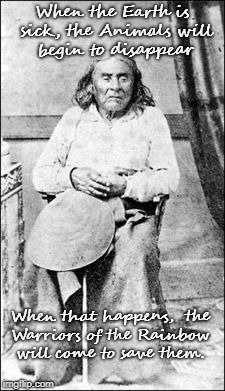 Chief Seattle's Quote  Duwamish Tribe.  His Mother was Duwamish so He was of her tribe, not father's who was Squamish.   | When the Earth is sick, the Animals will begin to disappear When that happens,  the Warriors of the Rainbow will come to save them. | image tagged in native american,nativive americans,american indian,tribe,chief | made w/ Imgflip meme maker
