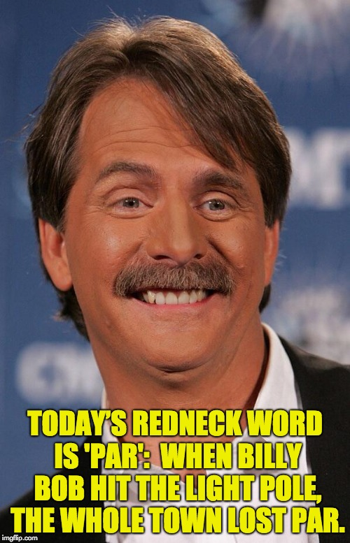 Jeff Foxworthy | TODAY'S REDNECK WORD IS 'PAR':  WHEN BILLY BOB HIT THE LIGHT POLE, THE WHOLE TOWN LOST PAR. | image tagged in jeff foxworthy | made w/ Imgflip meme maker