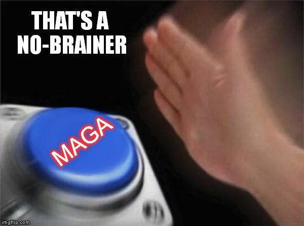Blank Nut Button Meme | THAT'S A NO-BRAINER MAGA | image tagged in memes,blank nut button | made w/ Imgflip meme maker