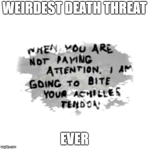 WEIRDEST DEATH THREAT EVER | image tagged in scary | made w/ Imgflip meme maker