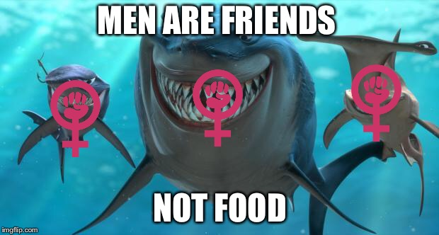 Says the feminist | MEN ARE FRIENDS NOT FOOD | image tagged in fish are friends not food,memes,feminist,finding nemo,patriarchy,triggered | made w/ Imgflip meme maker