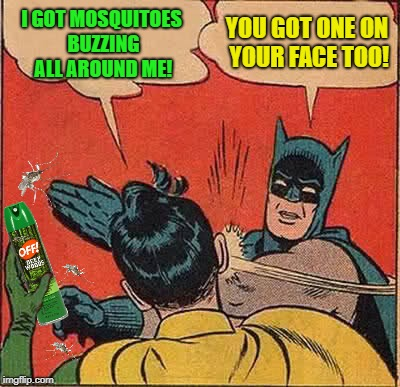 Get off me! | I GOT MOSQUITOES BUZZING ALL AROUND ME! YOU GOT ONE ON YOUR FACE TOO! | image tagged in funny memes,batman slapping robin,mosquitoes,mosquito attack,summer time | made w/ Imgflip meme maker