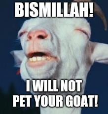 Goat Rhapsody  | BISMILLAH! I WILL NOT PET YOUR GOAT! | image tagged in goat,queen | made w/ Imgflip meme maker