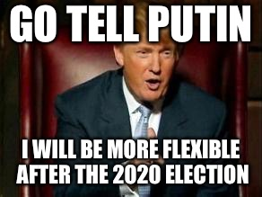 Donald Trump | GO TELL PUTIN I WILL BE MORE FLEXIBLE AFTER THE 2020 ELECTION | image tagged in donald trump | made w/ Imgflip meme maker