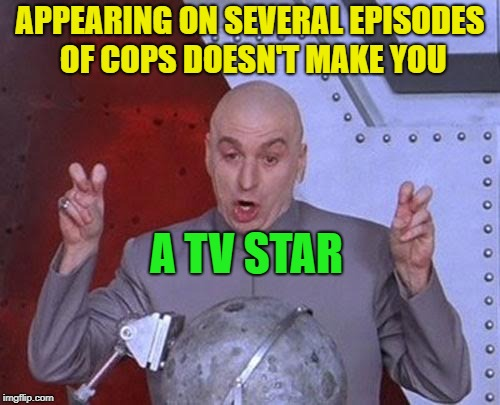 Bad boys, Bad boys..... | APPEARING ON SEVERAL EPISODES OF COPS DOESN'T MAKE YOU A TV STAR | image tagged in memes,dr evil laser,funny,tv show,cops | made w/ Imgflip meme maker