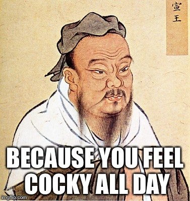 wise confusius | BECAUSE YOU FEEL COCKY ALL DAY | image tagged in wise confusius | made w/ Imgflip meme maker