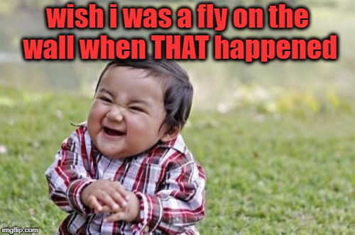 Evil Toddler Meme | wish i was a fly on the wall when THAT happened | image tagged in memes,evil toddler | made w/ Imgflip meme maker