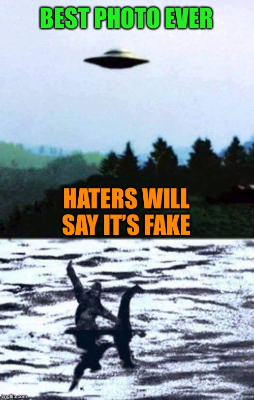 Bigfoot Photobomb | BEST PHOTO EVER HATERS WILL SAY IT'S FAKE | image tagged in ufos,bigfoot,loch ness monster,photobombs,awesomeness | made w/ Imgflip meme maker