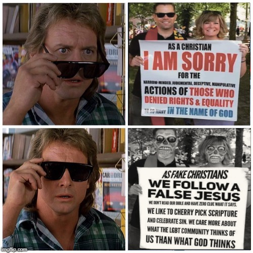 They Live Christians  | WAKE UP!!! | image tagged in they live,wake up,fake christians,roddy piper,memes | made w/ Imgflip meme maker