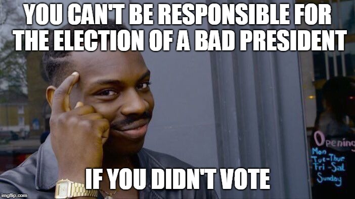 ACTUAL (as in Non-Strawman) College Liberal Logic 101 | YOU CAN'T BE RESPONSIBLE FOR THE ELECTION OF A BAD PRESIDENT IF YOU DIDN'T VOTE | image tagged in memes,roll safe think about it,actual liberal logic,voting,bad president,lazy | made w/ Imgflip meme maker