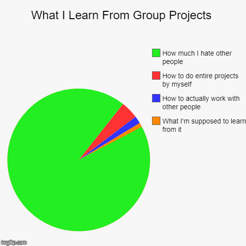 What I Learn From Group Projects | What I'm supposed to learn from it, How to actually work with other people, How to do entire projects by  | image tagged in funny,pie charts,group projects,school,homework | made w/ Imgflip pie chart maker