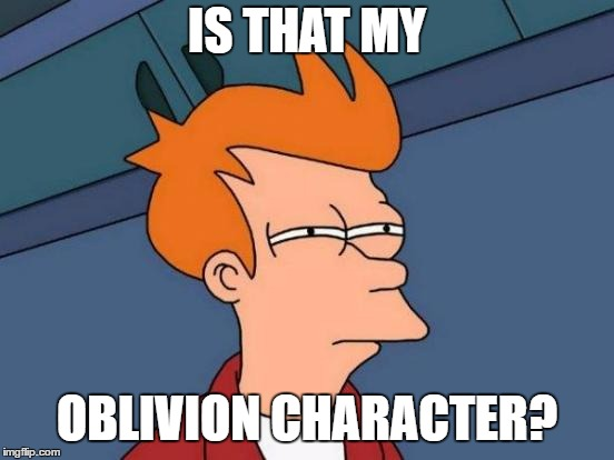 Futurama Fry Meme | IS THAT MY OBLIVION CHARACTER? | image tagged in memes,futurama fry | made w/ Imgflip meme maker