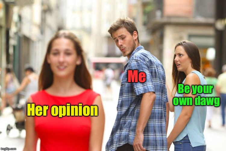 Distracted Boyfriend Meme | Her opinion Me Be your own dawg | image tagged in memes,distracted boyfriend | made w/ Imgflip meme maker