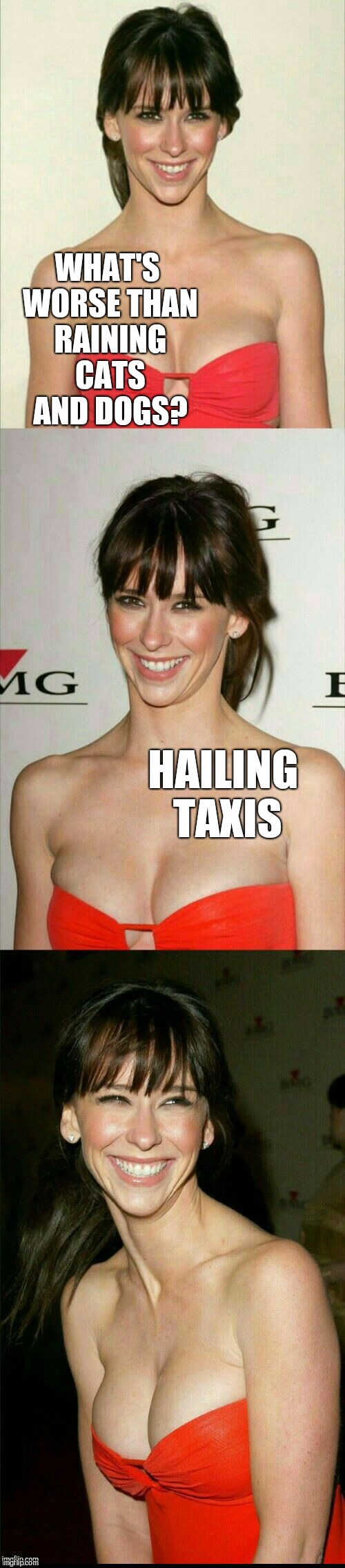 Jennifer Love Hewitt joke template  | WHAT'S WORSE THAN RAINING CATS AND DOGS? HAILING TAXIS | image tagged in jennifer love hewitt joke template,jbmemegeek,jennifer love hewitt,bad puns | made w/ Imgflip meme maker