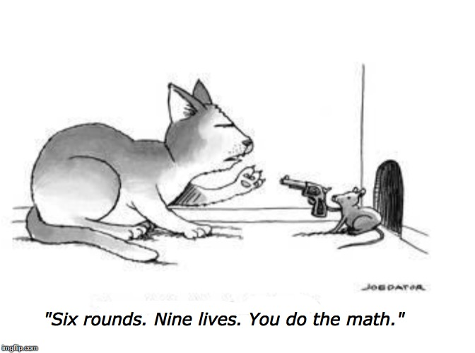 "Should have used an automatic |  ""Six rounds. Nine lives. You do the math."" 