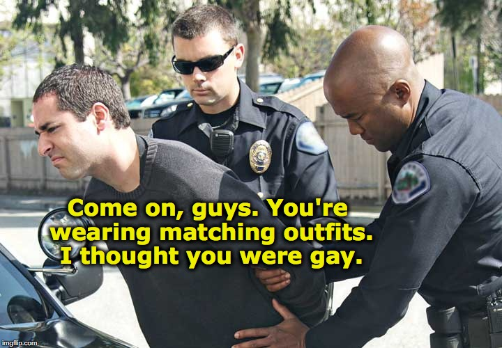 An Indecent Proposal | Come on, guys. You're wearing matching outfits. I thought you were gay. | image tagged in gay,police,arrested,morals | made w/ Imgflip meme maker