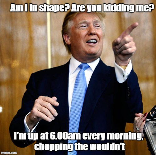 Donald Trump | Am I in shape? Are you kidding me? I'm up at 6.00am every morning, chopping the wouldn't | image tagged in donald trump | made w/ Imgflip meme maker