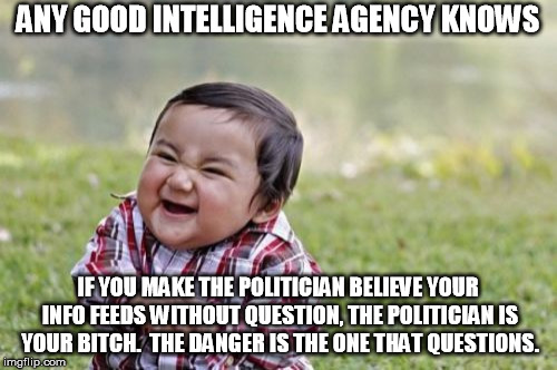 Evil Toddler Meme | ANY GOOD INTELLIGENCE AGENCY KNOWS IF YOU MAKE THE POLITICIAN BELIEVE YOUR INFO FEEDS WITHOUT QUESTION, THE POLITICIAN IS YOUR B**CH.  THE D | image tagged in memes,evil toddler | made w/ Imgflip meme maker
