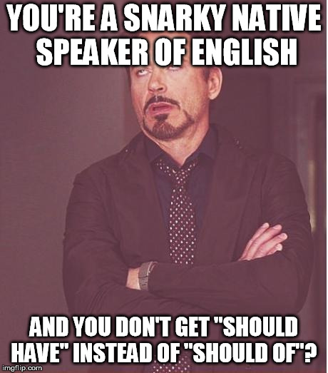 "Face You Make Robert Downey Jr Meme | YOU'RE A SNARKY NATIVE SPEAKER OF ENGLISH AND YOU DON'T GET ""SHOULD HAVE"" INSTEAD OF ""SHOULD OF""? 