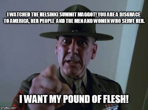 Sergeant Hartmann | I WATCHED THE HELSINKI SUMMIT MAGGOT! YOU ARE A DISGRACE TO AMERICA, HER PEOPLE  AND THE MEN AND WOMEN WHO SERVE HER. I WANT MY POUND OF FLE | image tagged in memes,sergeant hartmann | made w/ Imgflip meme maker