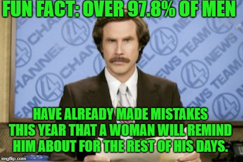 yeah, yeah, we know | FUN FACT: OVER 97.8% OF MEN HAVE ALREADY MADE MISTAKES THIS YEAR THAT A WOMAN WILL REMIND HIM ABOUT FOR THE REST OF HIS DAYS. | image tagged in memes,ron burgundy,men | made w/ Imgflip meme maker