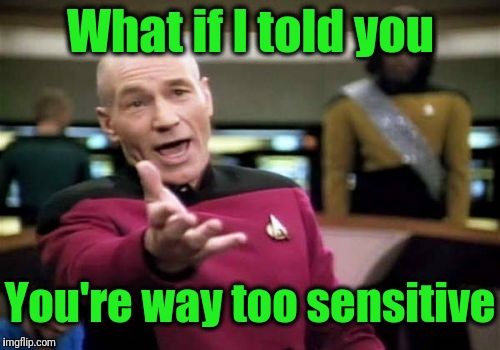 Picard Wtf Meme | What if I told you You're way too sensitive | image tagged in memes,picard wtf | made w/ Imgflip meme maker