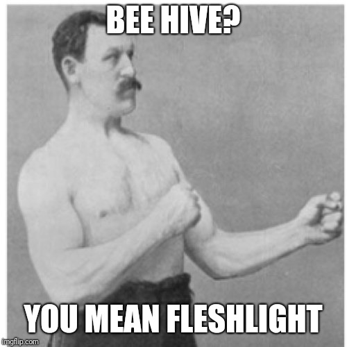 Overly Manly Man Meme | BEE HIVE? YOU MEAN FLESHLIGHT | image tagged in memes,overly manly man | made w/ Imgflip meme maker
