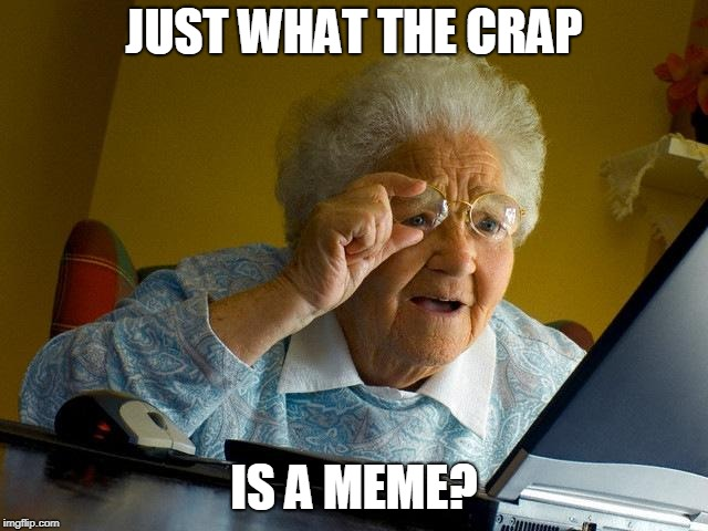 Grandma Finds The Internet Meme | JUST WHAT THE CRAP IS A MEME? | image tagged in memes,grandma finds the internet | made w/ Imgflip meme maker
