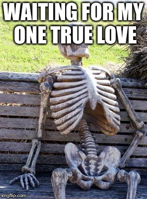 Waiting Skeleton Meme | WAITING FOR MY ONE TRUE LOVE | image tagged in memes,waiting skeleton | made w/ Imgflip meme maker