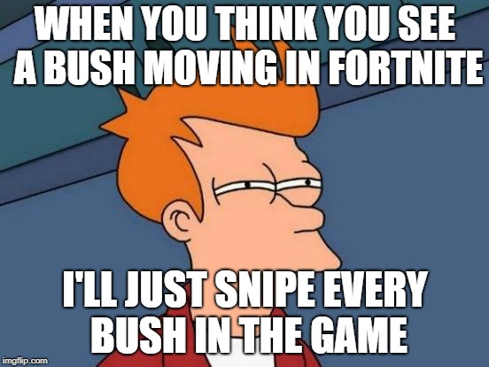 Futurama Fry Meme | WHEN YOU THINK YOU SEE A BUSH MOVING IN FORTNITE I'LL JUST SNIPE EVERY BUSH IN THE GAME | image tagged in memes,futurama fry | made w/ Imgflip meme maker