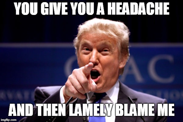 Your President BWHA-HA-HA! | YOU GIVE YOU A HEADACHE AND THEN LAMELY BLAME ME | image tagged in your president bwha-ha-ha | made w/ Imgflip meme maker