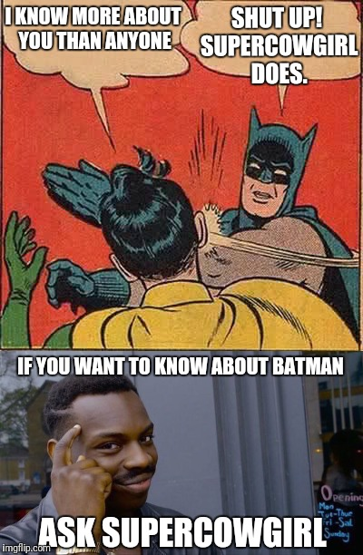 Inspired by a comment from supercowgirl. Meme on! | I KNOW MORE ABOUT YOU THAN ANYONE SHUT UP! SUPERCOWGIRL DOES. IF YOU WANT TO KNOW ABOUT BATMAN ASK SUPERCOWGIRL | image tagged in memes,batman slapping robin | made w/ Imgflip meme maker
