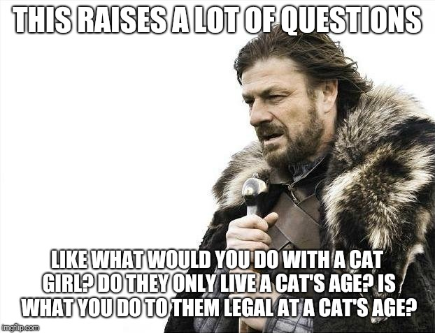 Brace Yourselves X is Coming Meme | THIS RAISES A LOT OF QUESTIONS LIKE WHAT WOULD YOU DO WITH A CAT GIRL? DO THEY ONLY LIVE A CAT'S AGE? IS WHAT YOU DO TO THEM LEGAL AT A CAT' | image tagged in memes,brace yourselves x is coming | made w/ Imgflip meme maker