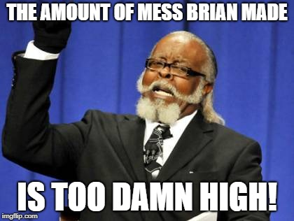 Too Damn High Meme | THE AMOUNT OF MESS BRIAN MADE IS TOO DAMN HIGH! | image tagged in memes,too damn high | made w/ Imgflip meme maker