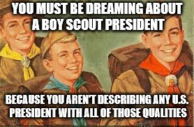 YOU MUST BE DREAMING ABOUT A BOY SCOUT PRESIDENT BECAUSE YOU AREN'T DESCRIBING ANY U.S. PRESIDENT WITH ALL OF THOSE QUALITIES | made w/ Imgflip meme maker