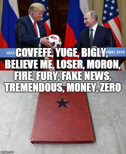 The Winter Wimp | COVFEFE, YUGE, BIGLY, BELIEVE ME, LOSER, MORON, FIRE, FURY, FAKE NEWS, TREMENDOUS, MONEY, ZERO | image tagged in trump,putin,wimp,traitor | made w/ Imgflip meme maker