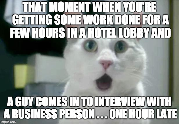 I mean ... seriously? Your excuse was TRAFFIC? | THAT MOMENT WHEN YOU'RE GETTING SOME WORK DONE FOR A FEW HOURS IN A HOTEL LOBBY AND A GUY COMES IN TO INTERVIEW WITH A BUSINESS PERSON . . . | image tagged in memes,omg cat,job interview | made w/ Imgflip meme maker