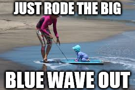 JUST RODE THE BIG BLUE WAVE OUT | image tagged in blue wave | made w/ Imgflip meme maker