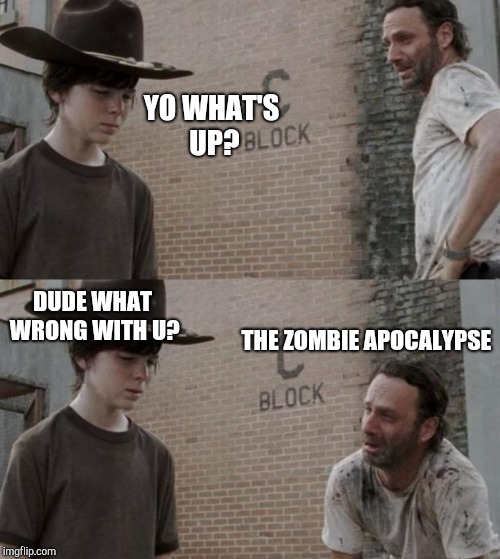 Rick and Carl Meme | YO WHAT'S UP? DUDE WHAT WRONG WITH U? THE ZOMBIE APOCALYPSE | image tagged in memes,rick and carl | made w/ Imgflip meme maker