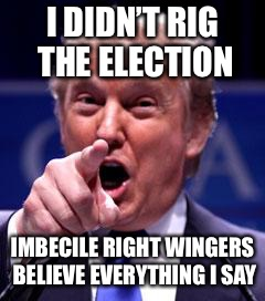 Trump Trademark | I DIDN'T RIG THE ELECTION IMBECILE RIGHT WINGERS BELIEVE EVERYTHING I SAY | image tagged in trump trademark | made w/ Imgflip meme maker