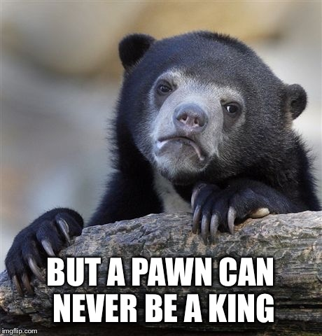Confession Bear Meme | BUT A PAWN CAN NEVER BE A KING | image tagged in memes,confession bear | made w/ Imgflip meme maker