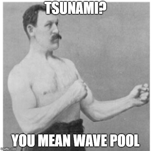 Overly Manly Man Meme | TSUNAMI? YOU MEAN WAVE POOL | image tagged in memes,overly manly man | made w/ Imgflip meme maker