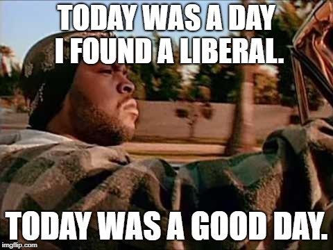 Today Was A Good Day | TODAY WAS A DAY I FOUND A LIBERAL. TODAY WAS A GOOD DAY. | image tagged in memes,today was a good day | made w/ Imgflip meme maker
