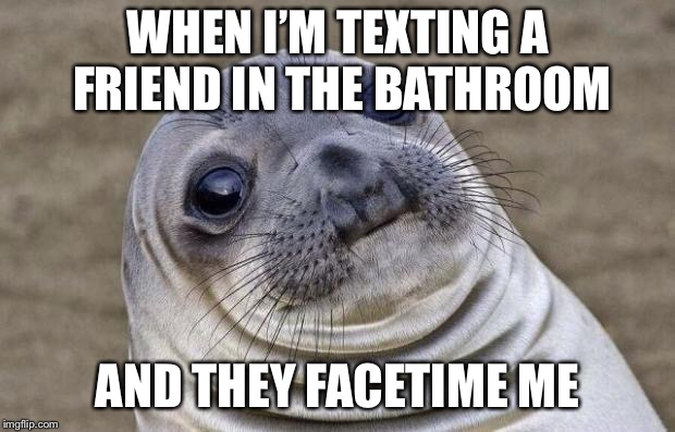 Awkward Moment Sealion Meme | WHEN I'M TEXTING A FRIEND IN THE BATHROOM AND THEY FACETIME ME | image tagged in memes,awkward moment sealion | made w/ Imgflip meme maker
