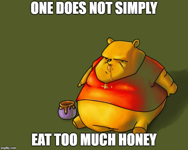 ONE DOES NOT SIMPLY EAT TOO MUCH HONEY | image tagged in fat pooh | made w/ Imgflip meme maker