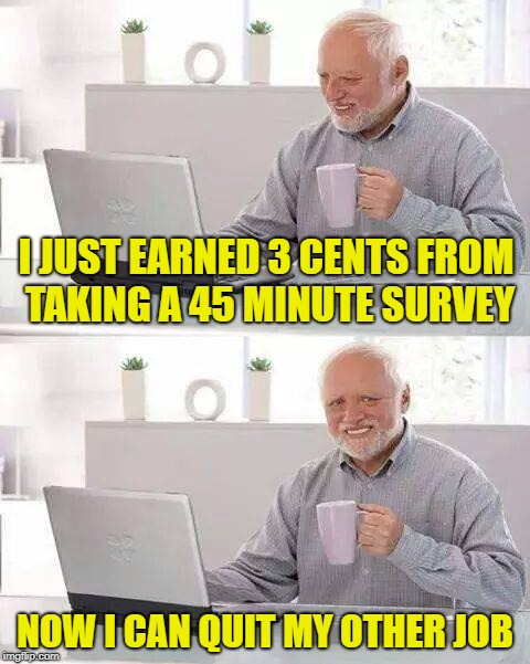 Online Income | I JUST EARNED 3 CENTS FROM TAKING A 45 MINUTE SURVEY NOW I CAN QUIT MY OTHER JOB | image tagged in memes,hide the pain harold,internet scam,internet | made w/ Imgflip meme maker