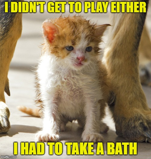 I DIDN'T GET TO PLAY EITHER I HAD TO TAKE A BATH | made w/ Imgflip meme maker