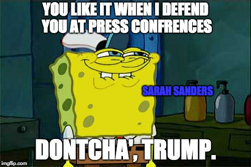 Dont You Squidward Meme | YOU LIKE IT WHEN I DEFEND YOU AT PRESS CONFRENCES DONTCHA', TRUMP. SARAH SANDERS | image tagged in memes,dont you squidward | made w/ Imgflip meme maker