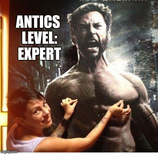 Not sure if he loves it, or hates it  | ANTICS LEVEL: EXPERT | image tagged in wolverine,x-men,hugh jackman | made w/ Imgflip meme maker